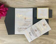 Gold Foil Wedding Invitation Sample, Marble and Gold Invitation, Pocket Fold