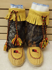 SIZE 11 HAND CRAFTED SMOKED MOOSEHIDE MOCCASINS & CAMO CANVAS LEGGINGS W/LINER