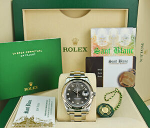 ROLEX Mens 41mm White Gold & SS DateJust II Rhodium Diamond 116334 SANT BLANC