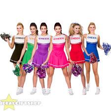 Ladies High School Cheerleader Uniform Red Fancy Dress Costume Small