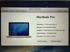 MacBook Pro 15 Retina mid 2012 2.3ghz i7 8GB RAM 250GB Storage