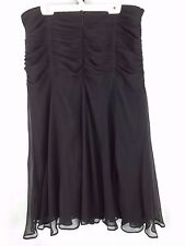 ICE 100% silk cinched tango evening dressy fancy lined black skirt, size 10