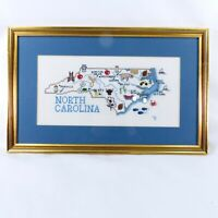 VTG 1991 Colorful Finished Framed Cross Stitch North Carolina State Map & Cities