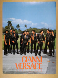 1992 Gianni Versace Signature men black leather photo vintage print Ad