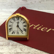 Rare Authentic Cartier Travel Alerm Clock Gold Swiss Made 7.5 x 8.5 cm w Box