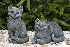 sculpture en pierre CHATS 2er Set gris-ardoise jet de Statue décorative jardin