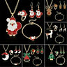 Merry Christmas Jewelry Necklace Earrings Ring Bracelet Set For Women Xmas Gifts