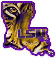 LSU State Outline with Tiger Face Mascot and logo LARGE Type MAGNET
