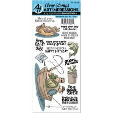 FISHING Reel Great Guy Clear Unmounted Rubber Stamp Set ART IMPRESSIONS 4900 New