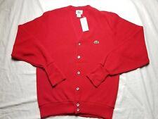IZOD Lacoste Men's Vintage Cardigan Sweater Solid Red CHRISTMAS Men Smal
