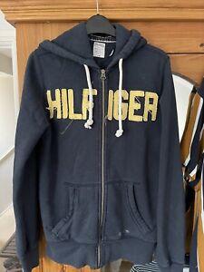 Tommy Hilfiger Denim Jeans Mens Navy Blue Hoodie Sweatshirt Zip Size Small Style