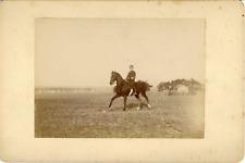 Sport Équestre, Démonstration, Militaire au galop, ca.1900, Vintage citrate prin