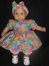 """Pink Easter Egg Dress Headband & Pants 15"""" Doll Clothes Made To Fit Bitty Baby"""