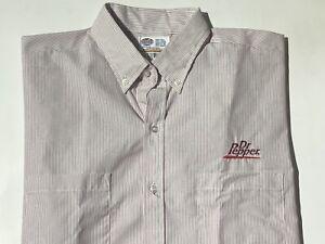 """NEW Dr. Pepper Short Sleeve Button Down Work Dress Collar Uniform Shirt 16"""" LG"""