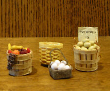 Doll/Teddy Miniature Accessory; Assorted Baskets of Fruits, Vegetables & Eggs