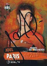 ✺Signed✺ 2015 2016 PERTH SCORCHERS Cricket Card JOEL PARIS Big Bash League