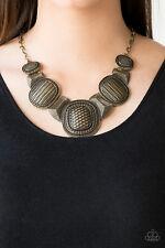 Paparazzi jewelry geometric ornate brass plates Necklace w/earrings