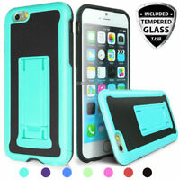 For Apple iPhone 6S 6 Shockproof Heavy Duty Phone Case Kickstand+Tempered Glass