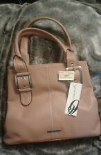 """Honey Brown saddle10x13"""" NINE WEST  Leather Purse w Two 26"""" Handles"""