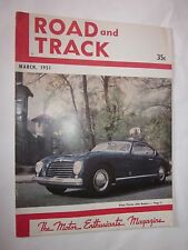 1951 Road & Track magazine March issue Pinin Farina Alfa Romeo