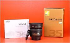 Nikon AF-S 35mm F1.8 G DX Autofocus Nikkor Lens - Front & Rear Lens Caps & Hood