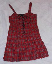 LIP SERVICE RED PLAID LACE-UP DRESS, STRAPS W/PLEATED BOTTOM, VINTAGE, MED.!