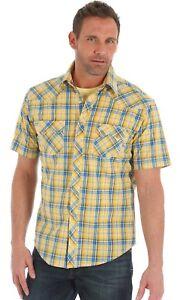 Wrangler Retro® Yellow/Blue Plaid Short Sleeve Snap Shirt MVR333M