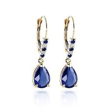Natural 3.18Ct New Diamond Blue Sapphire Gemstone Earrings Solid 14KT Gold Stud