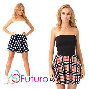 Sexy Damen Minikleid Punkte Tartan Muster Bandeau Skater Tunika Größe 8-10 FA364
