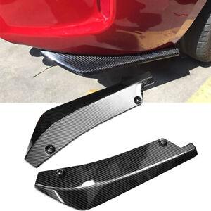 2X Universal Car Rear Bumper Lip Diffuser Splitter Canard Protector Carbon Fiber