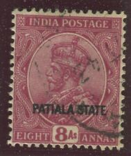 India - Convention States - Patiala Stamps Scott  #69 Used,VF (X6508N)