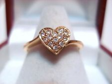WOW!!!!  Solid 18k 18kt Gold Heart Ring with Pave Diamonds Size=6.5