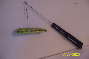 ICE FISHING JIGGING ROD W/DECOY WOOD FROM ALASKA BY JCAS LURE Co. Rod from Mich.