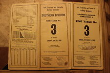 GULF,COLORADO AND SANTA FE SOUTHERN DIVISION EMPLOYEE TT #3 + SUPPLEMENT #1 1960