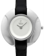 OBAKU HARMONY LADIES WHITE STAINLESS STEEL QUARTZ BLACK LEATHER WATCH, v135lcirb
