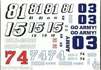 NASCAR DECAL - #03, #15, #74, #81, GO ARMY, GILD-MORE, DIXIE 500