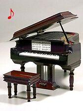 PIANO DE COLA MINIATURA EN MADERA COLECCION CON CAJA DE MUSICA