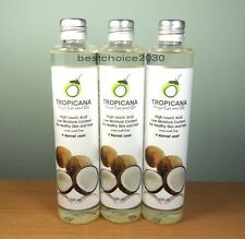 3 x 100 ML NEW TROPICANA VIRGIN COLD PRESSED COCONUT OIL FOR DRINK, HAIR & SKIN