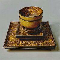 Eight Piece Set of 2 Stoneware Japan Sousaku Brown Plates Bowls Dip Bowls Sound