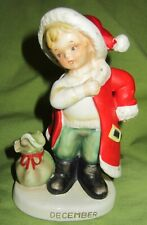 Vintage Lefton Birthday boy month figurines December - boy in santa suit