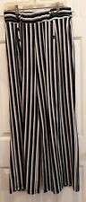 Robert Louis PANTS - Large -  long & flowing black striped - pull on
