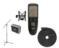 AKG P220 Studio Condenser Microphone + Boom Mic Stand + XLR Cable PROAUDIOSTAR