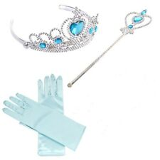 Princess Frozen Blue Crown Tiara Wand Gloves Gift Set Elsa Dressing up