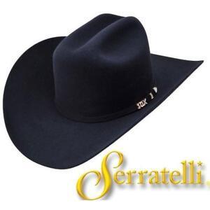 """SERRATELLI 10X Cali Style BLACK 3 1/2"""" BRIM WESTERN COWBOY HAT ALL SIZES"""