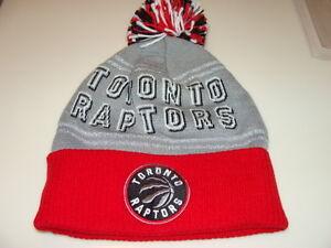Toronto Raptors Adidas Basketball Cap Hat Beanie Toque Cuffed NBA Grey Pom Word