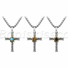 Men's Vintage Tiger Eye Stone Blue Turquoise Black Stone Cross Pendant Necklace