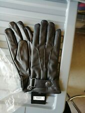 BNWT MENS BLACK LEATHER LOOK NEW LOOK GLOVES ONE SIZE.