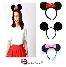 MOUSE EARS HEADBAND Fancy Dress Ladies Kids Girls Polka Dot Alice Band Red Pink