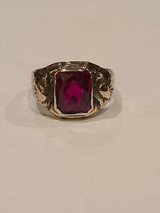 Vintage 10k and Sterling Silver Mens Signet Ring