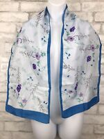 """Vintage Scarf Floral Blue Border Blossoms Made in Italy 54x11"""""""